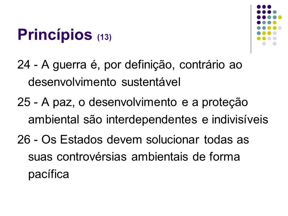 Princípios (13) 24 - A guerra é, por definição, contrário ao desenvolvimento sustentável.