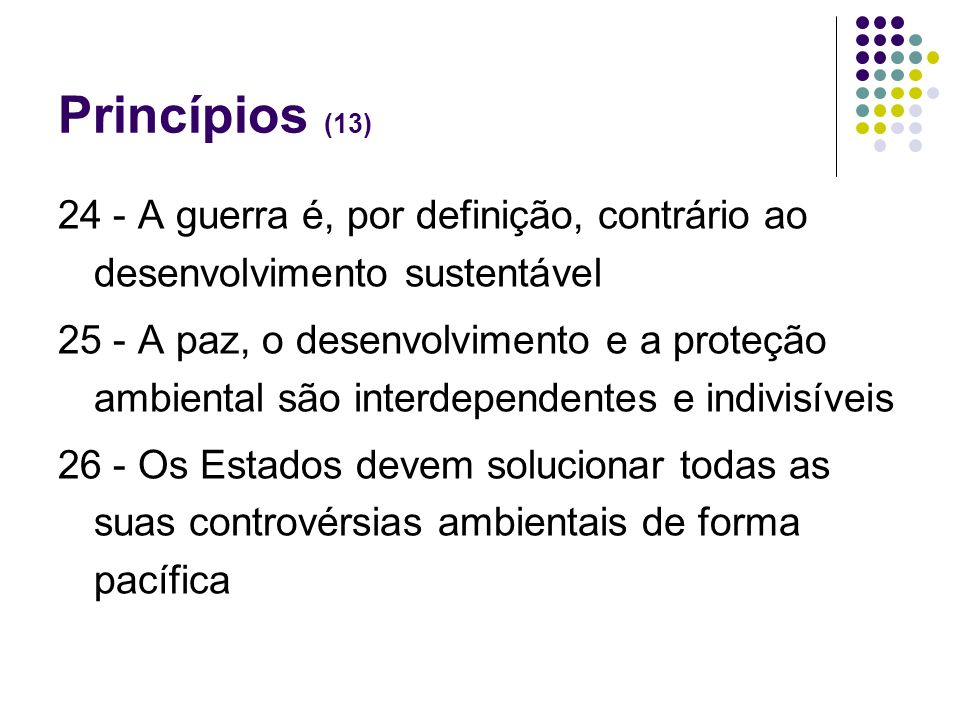 Princípios (13)24 - A guerra é, por definição, contrário ao desenvolvimento sustentável.