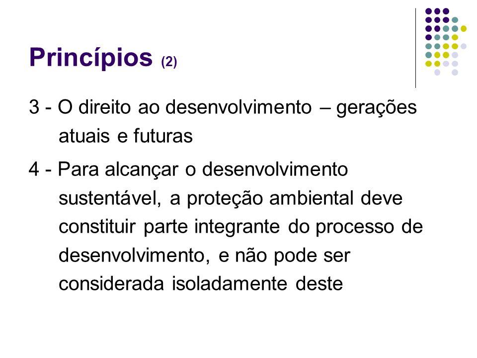 Princípios (2)3 - O direito ao desenvolvimento – gerações atuais e futuras.
