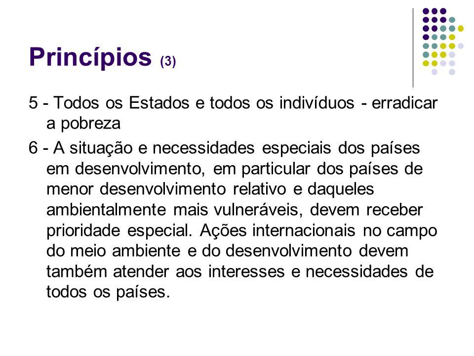 Princípios (3) 5 - Todos os Estados e todos os indivíduos - erradicar a pobreza.