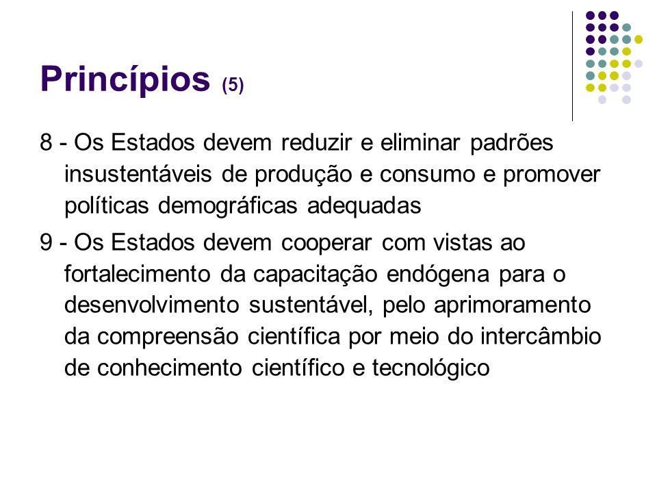 Princípios (5) 8 - Os Estados devem reduzir e eliminar padrões insustentáveis de produção e consumo e promover políticas demográficas adequadas.