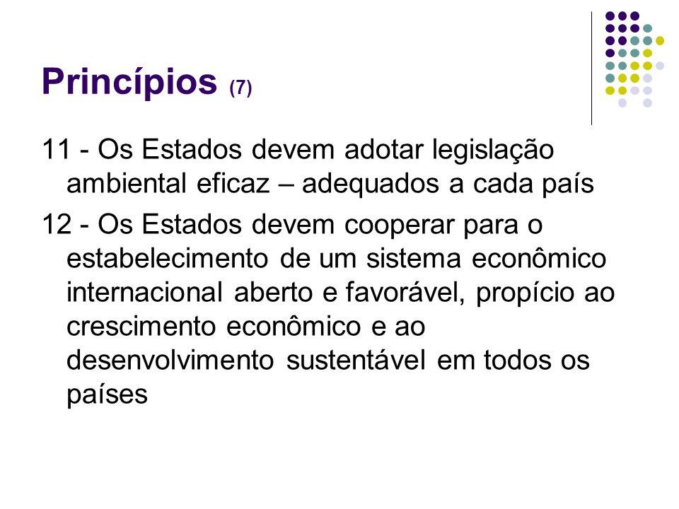 Princípios (7)11 - Os Estados devem adotar legislação ambiental eficaz – adequados a cada país.