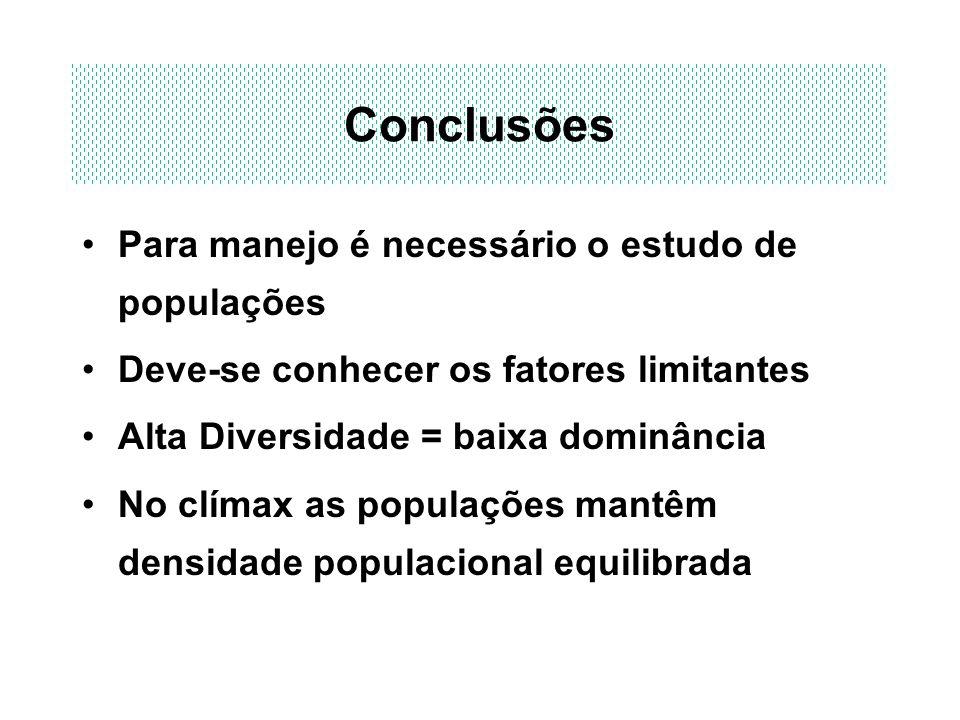 Conclusões Para manejo é necessário o estudo de populações