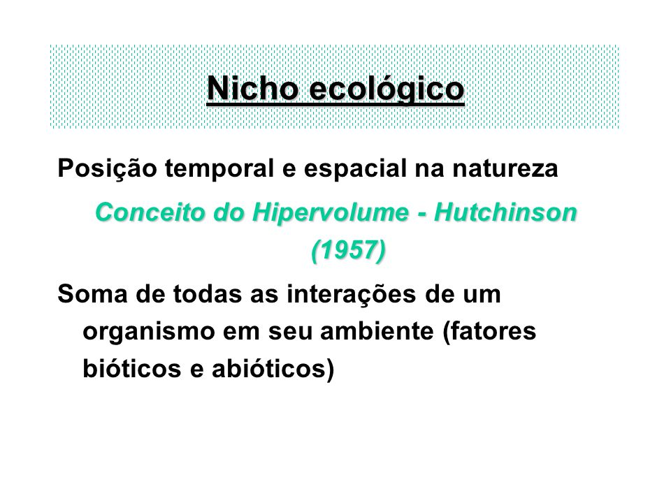 Conceito do Hipervolume - Hutchinson (1957)
