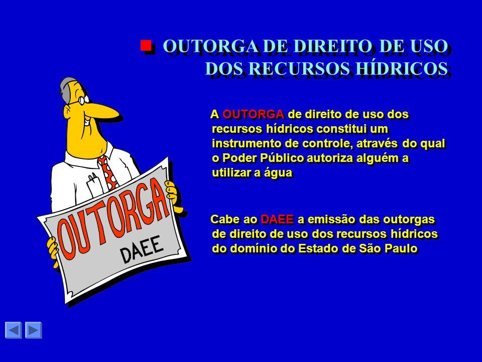 OUTORGA DE DIREITO DE USO DOS RECURSOS HÍDRICOS