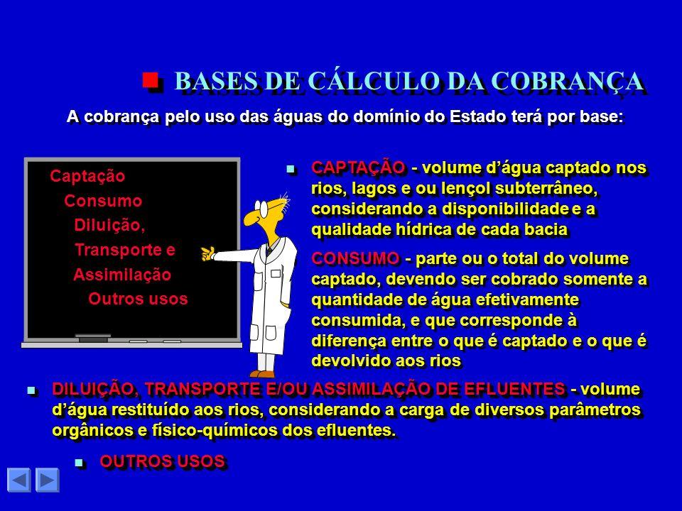 BASES DE CÁLCULO DA COBRANÇA