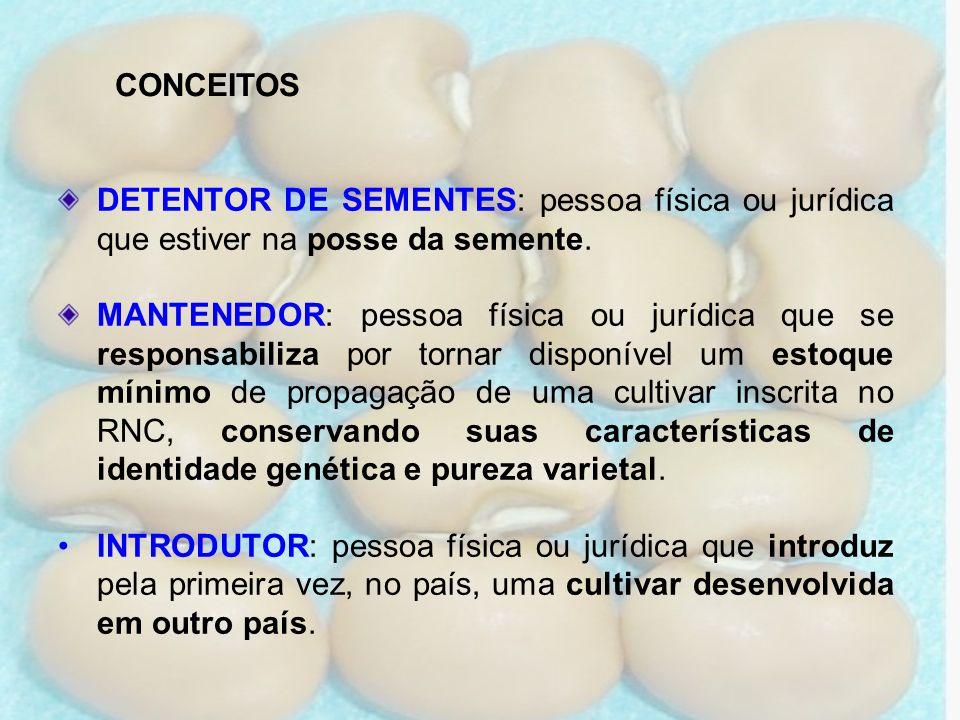 CONCEITOS DETENTOR DE SEMENTES: pessoa física ou jurídica que estiver na posse da semente.