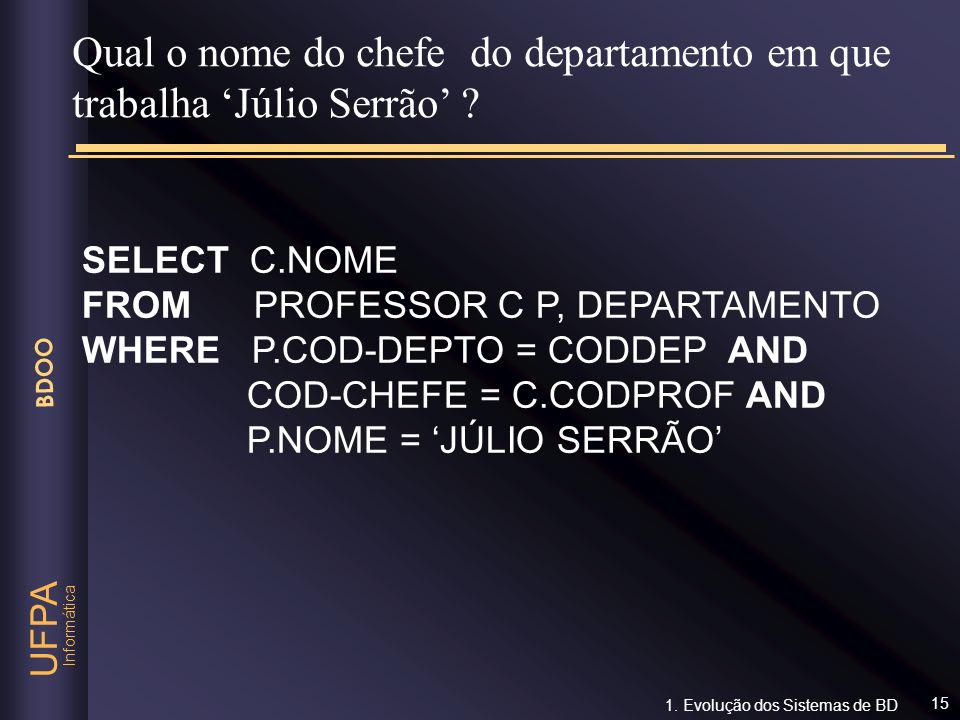 Qual o nome do chefe do departamento em que trabalha 'Júlio Serrão'