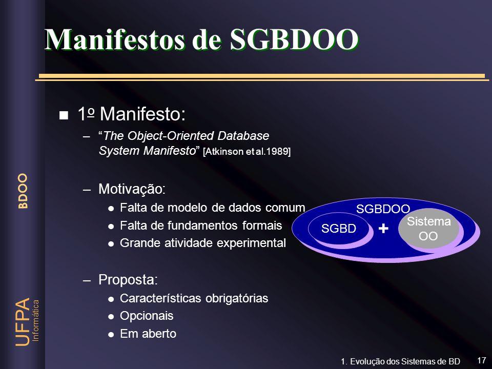 Manifestos de SGBDOO 1o Manifesto: + Motivação: Proposta: