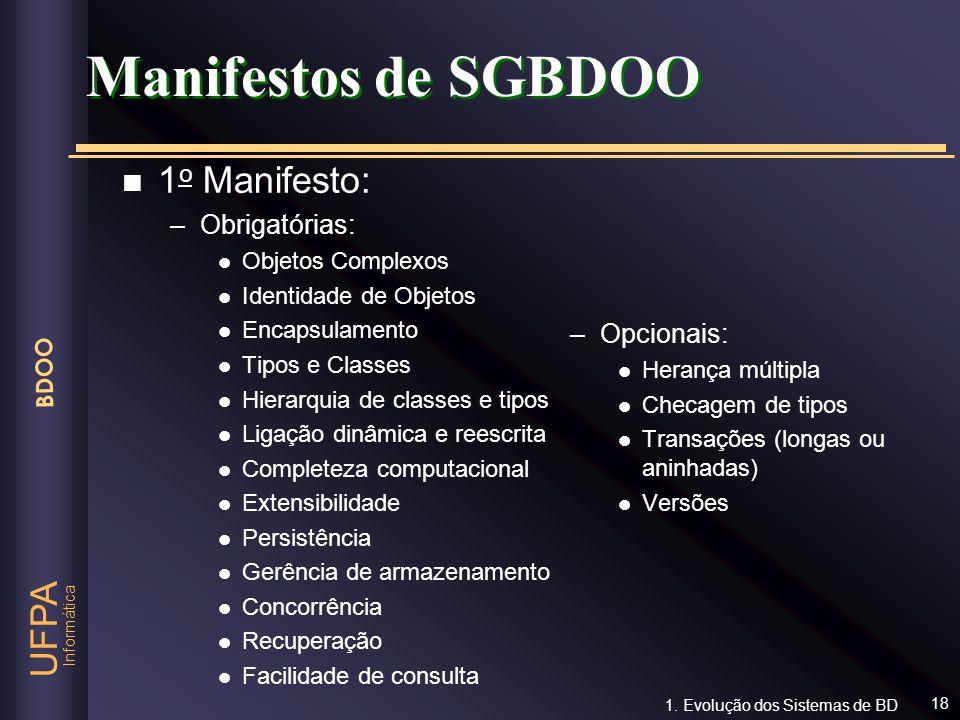Manifestos de SGBDOO 1o Manifesto: Obrigatórias: Opcionais: