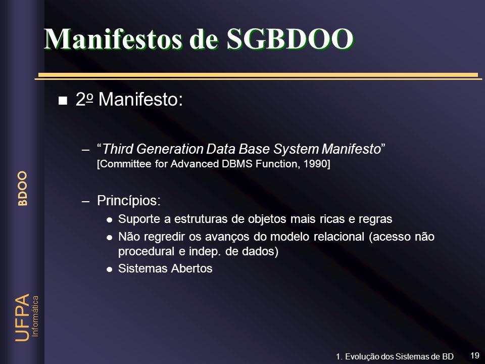 Manifestos de SGBDOO 2o Manifesto: