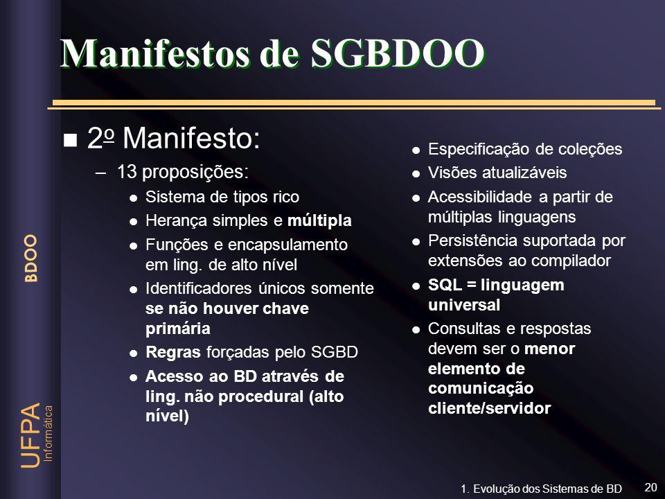 Manifestos de SGBDOO 2o Manifesto: 13 proposições: