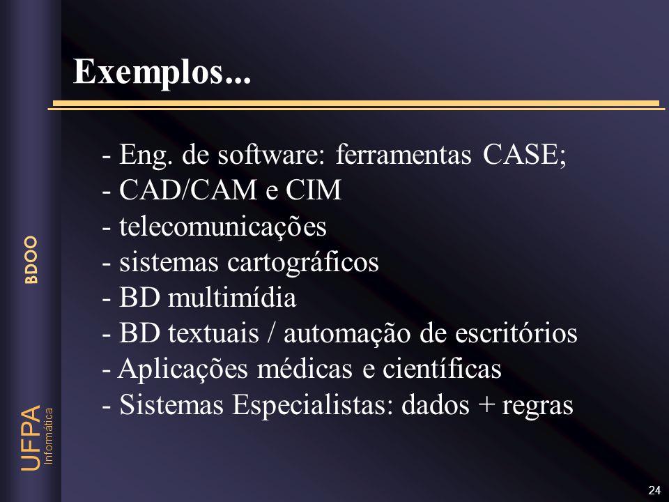 Exemplos... - Eng. de software: ferramentas CASE; - CAD/CAM e CIM