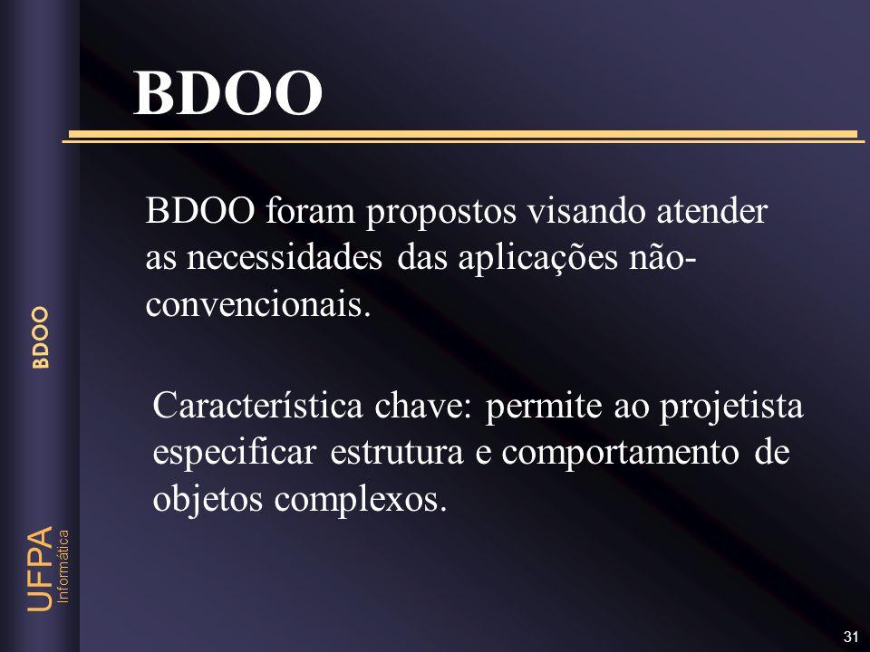 BDOO BDOO foram propostos visando atender as necessidades das aplicações não-convencionais.