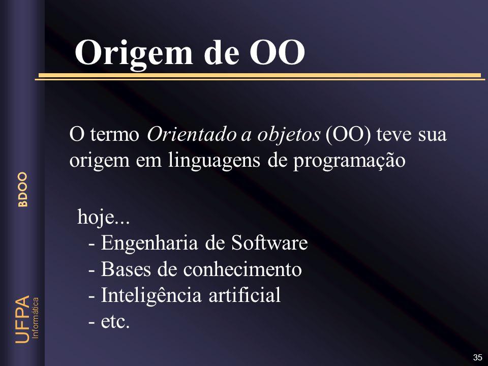 Origem de OO O termo Orientado a objetos (OO) teve sua origem em linguagens de programação. hoje...