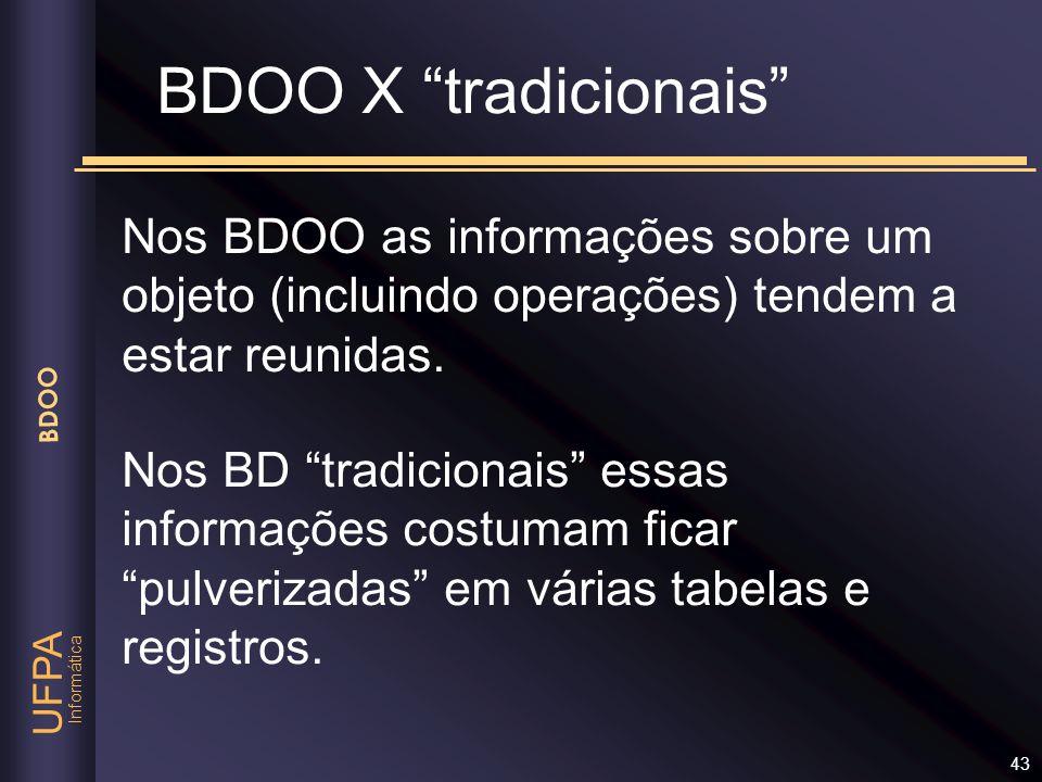 BDOO X tradicionais Nos BDOO as informações sobre um objeto (incluindo operações) tendem a estar reunidas.