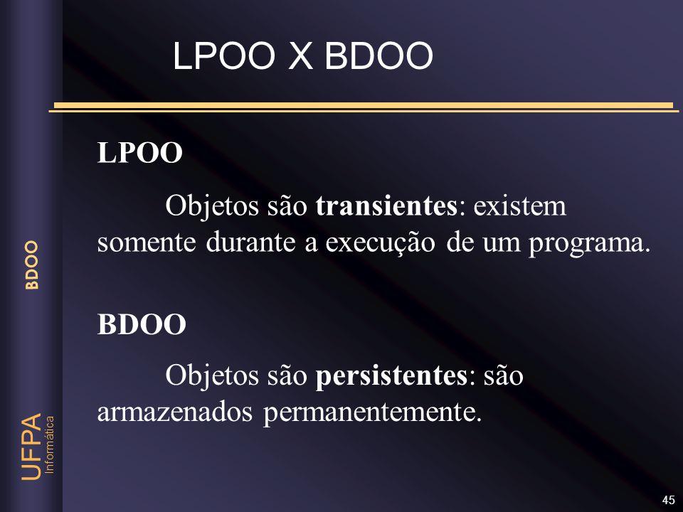 LPOO X BDOO LPOO. Objetos são transientes: existem somente durante a execução de um programa. BDOO.