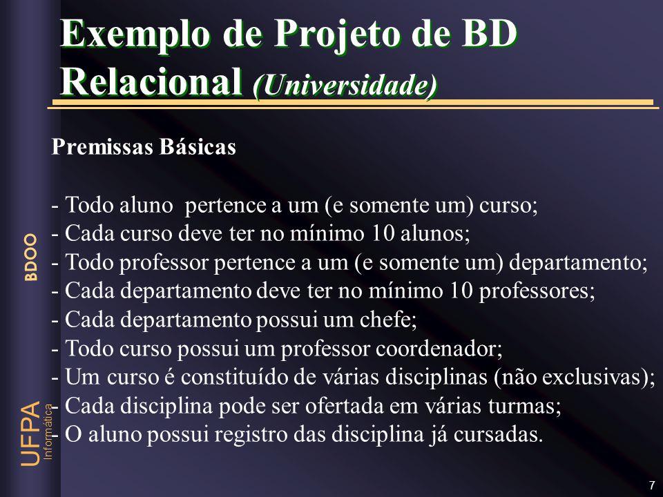 Exemplo de Projeto de BD Relacional (Universidade)