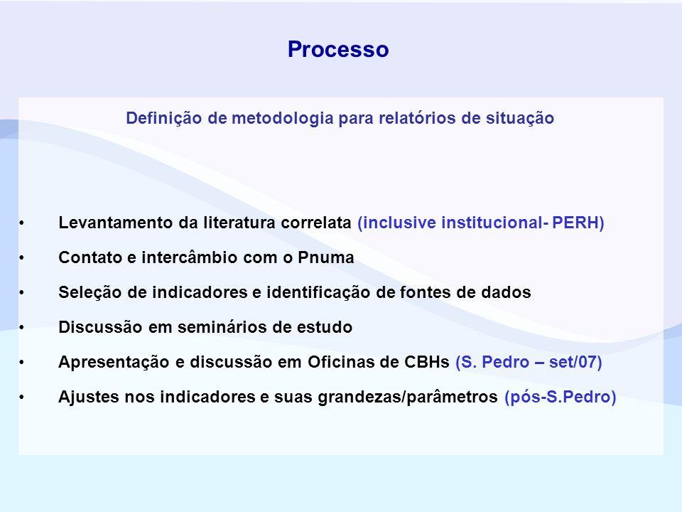 Definição de metodologia para relatórios de situação