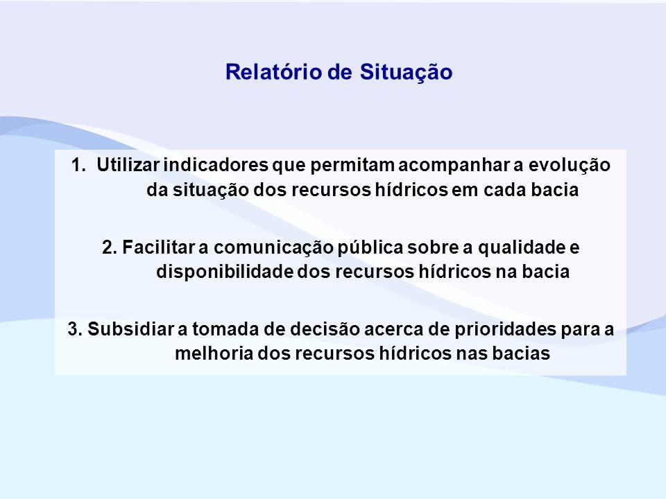Relatório de Situação 1. Utilizar indicadores que permitam acompanhar a evolução da situação dos recursos hídricos em cada bacia.