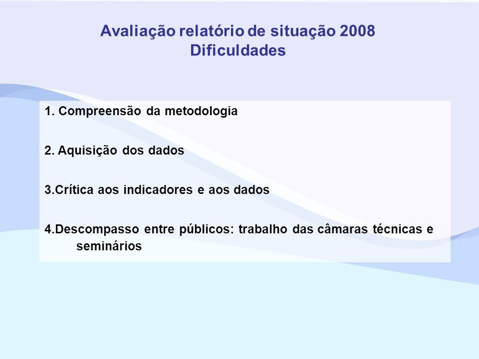 Avaliação relatório de situação 2008 Dificuldades
