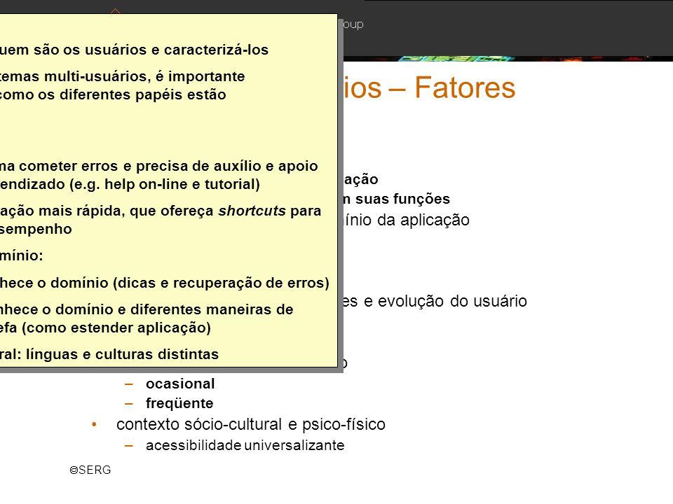 Modelagem de Usuários – Fatores