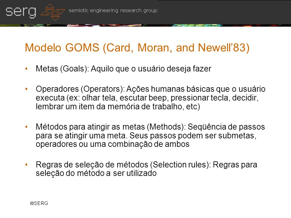 Modelo GOMS (Card, Moran, and Newell'83)