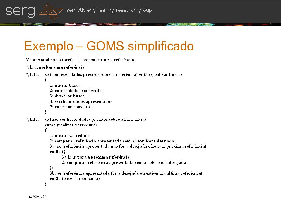 Exemplo – GOMS simplificado