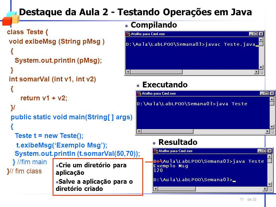 Destaque da Aula 2 - Testando Operações em Java