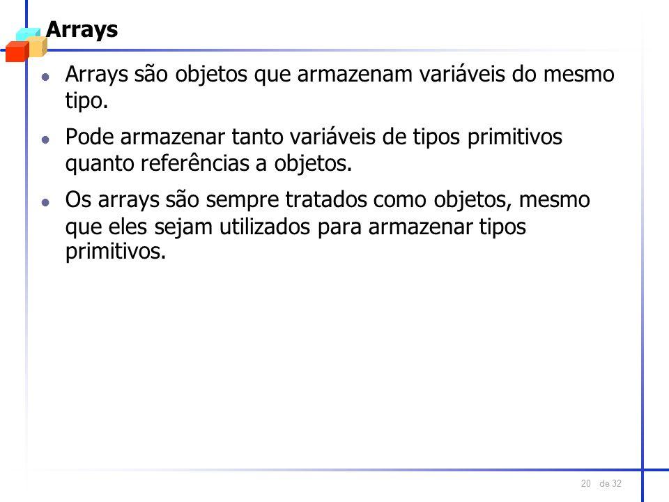 ArraysArrays são objetos que armazenam variáveis do mesmo tipo. Pode armazenar tanto variáveis de tipos primitivos quanto referências a objetos.