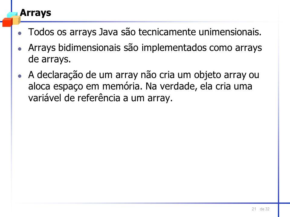 Arrays Todos os arrays Java são tecnicamente unimensionais. Arrays bidimensionais são implementados como arrays de arrays.