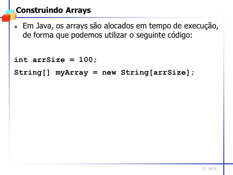 Construindo ArraysEm Java, os arrays são alocados em tempo de execução, de forma que podemos utilizar o seguinte código: