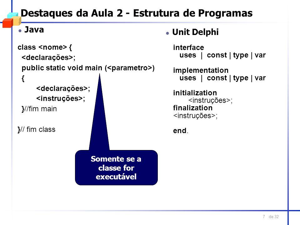 Destaques da Aula 2 - Estrutura de Programas