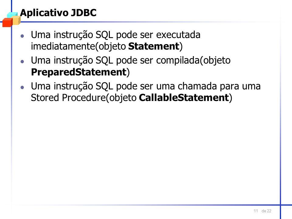 Aplicativo JDBCUma instrução SQL pode ser executada imediatamente(objeto Statement) Uma instrução SQL pode ser compilada(objeto PreparedStatement)