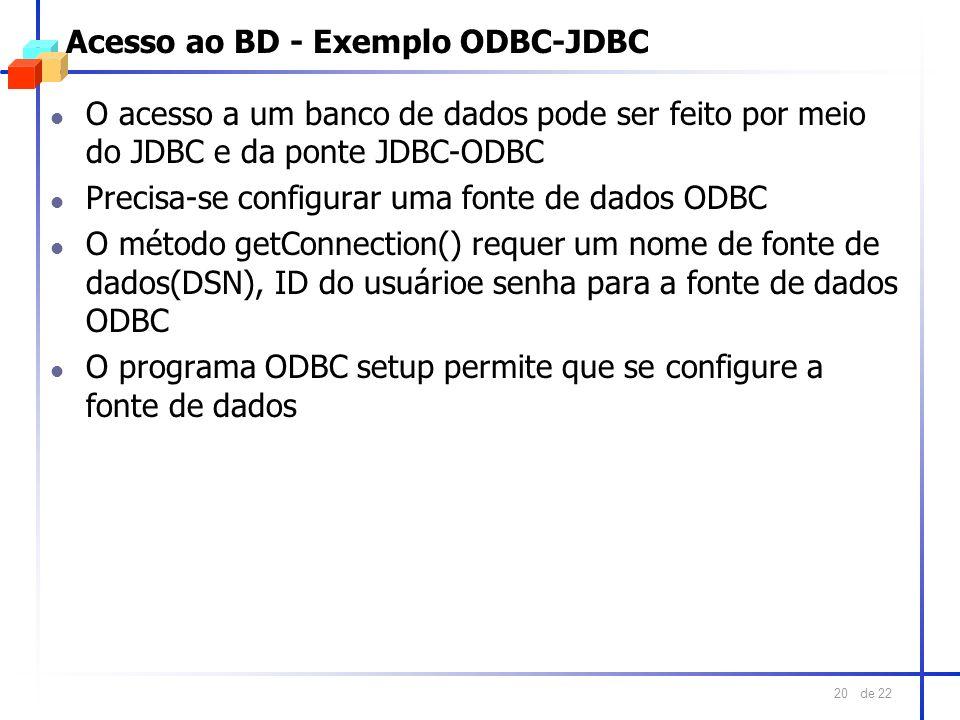 Acesso ao BD - Exemplo ODBC-JDBC