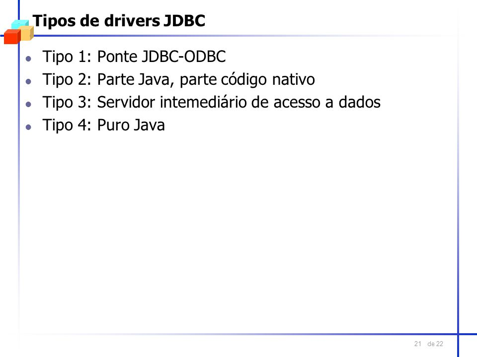 Tipos de drivers JDBC Tipo 1: Ponte JDBC-ODBC. Tipo 2: Parte Java, parte código nativo. Tipo 3: Servidor intemediário de acesso a dados.
