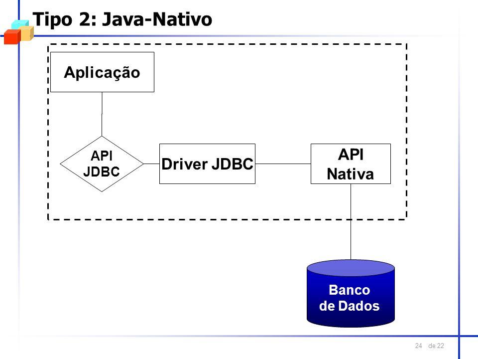 Tipo 2: Java-Nativo Aplicação API Driver JDBC Nativa API JDBC Banco