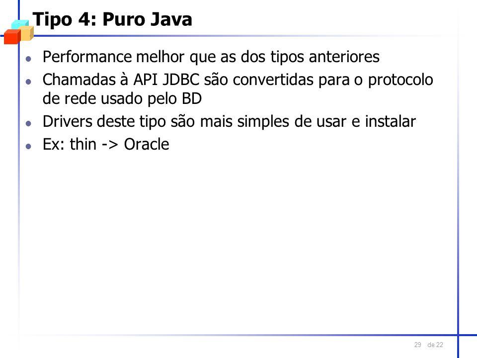 Tipo 4: Puro Java Performance melhor que as dos tipos anteriores