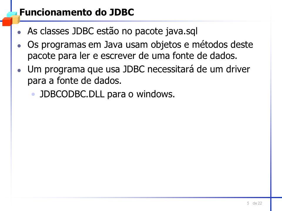 Funcionamento do JDBC As classes JDBC estão no pacote java.sql.