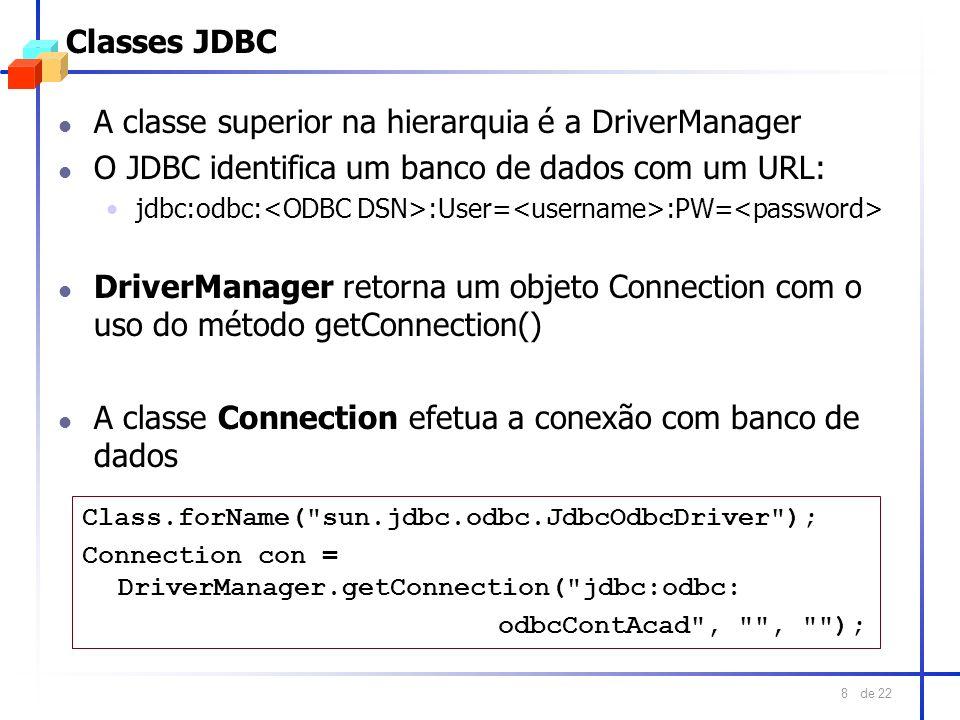 A classe superior na hierarquia é a DriverManager