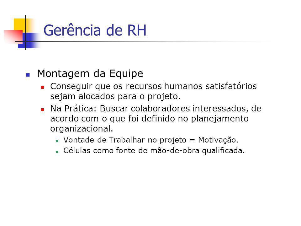 Gerência de RH Montagem da Equipe