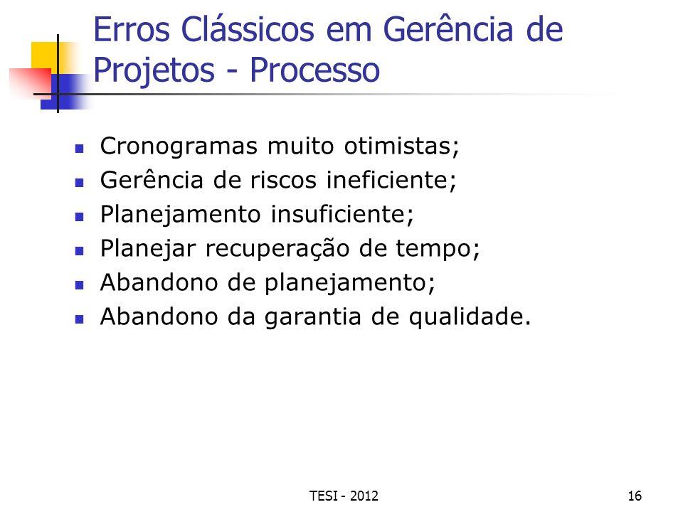 Erros Clássicos em Gerência de Projetos - Processo