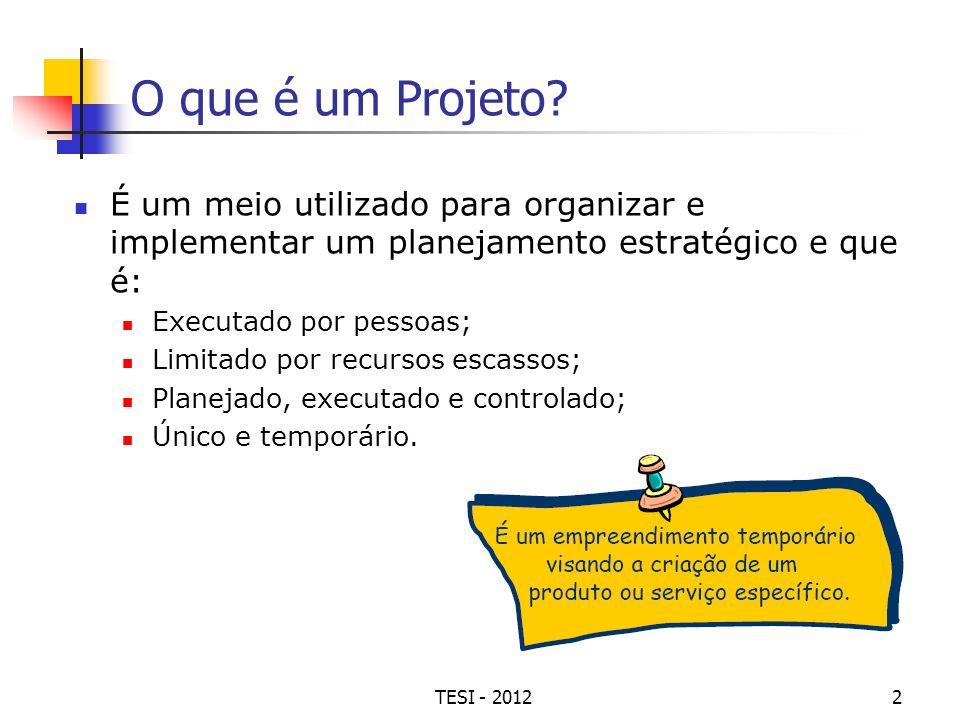 O que é um Projeto É um meio utilizado para organizar e implementar um planejamento estratégico e que é: