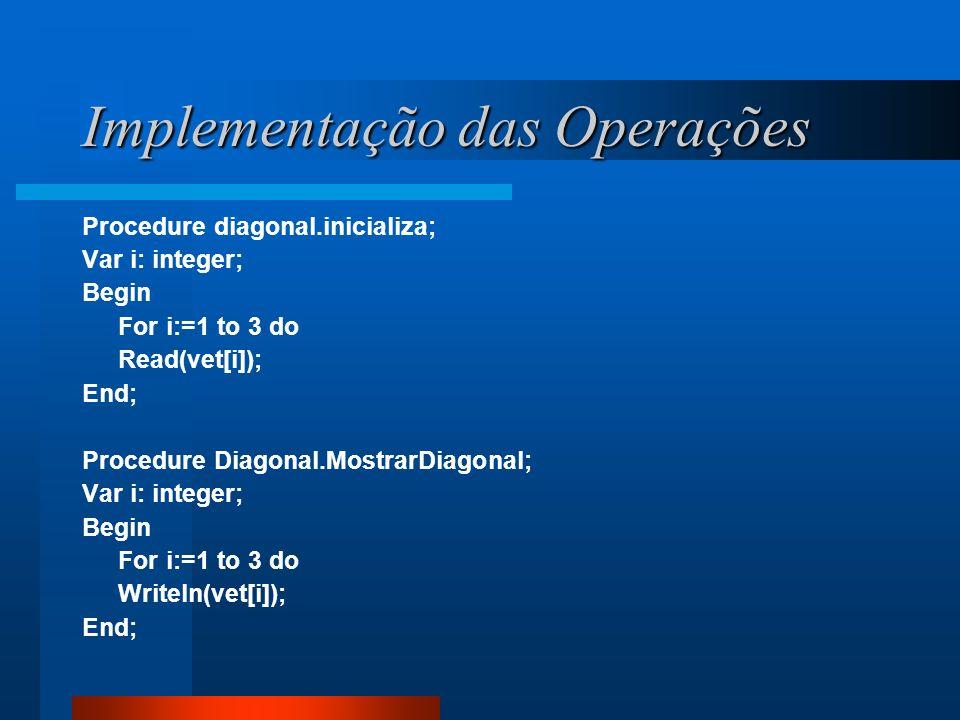 Implementação das Operações