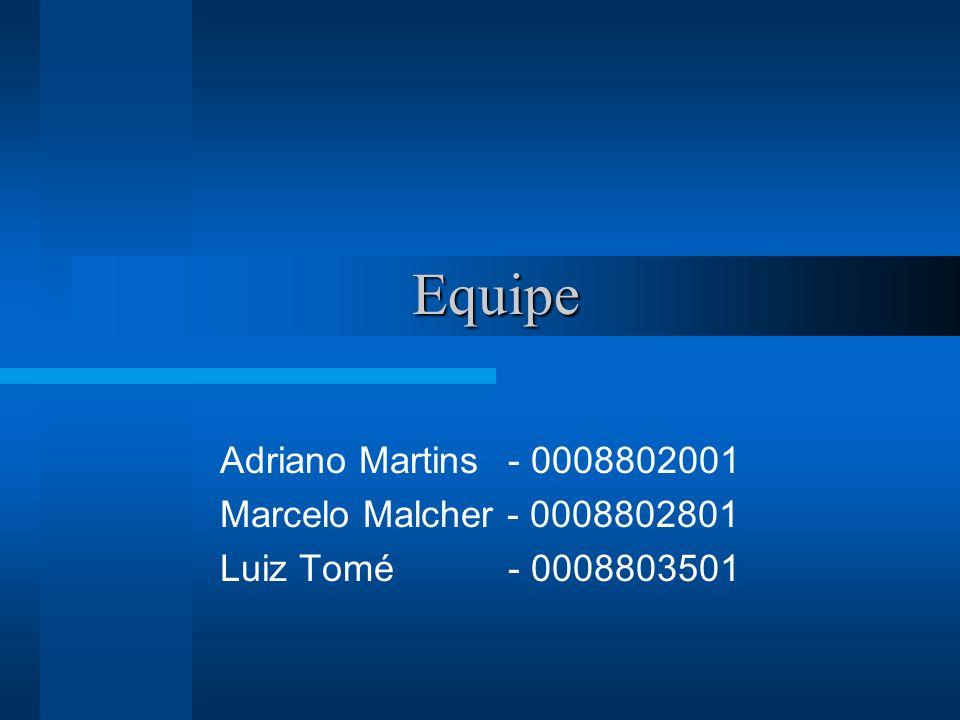 Equipe Adriano Martins - 0008802001 Marcelo Malcher - 0008802801