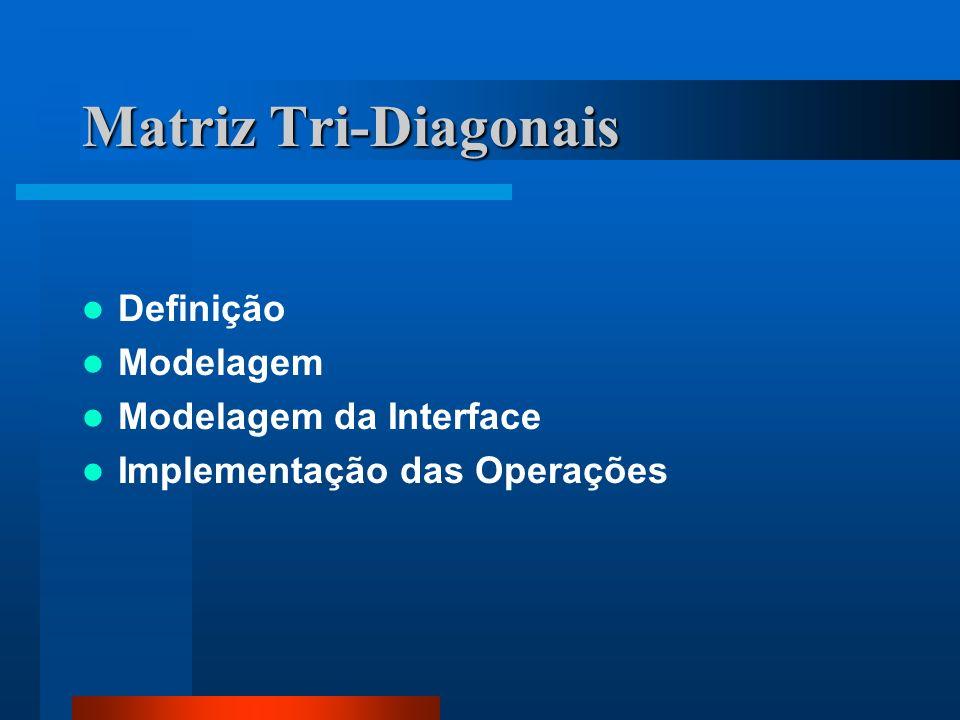 Matriz Tri-Diagonais Definição Modelagem Modelagem da Interface