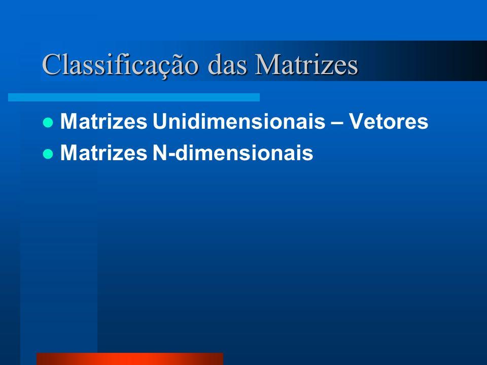 Classificação das Matrizes