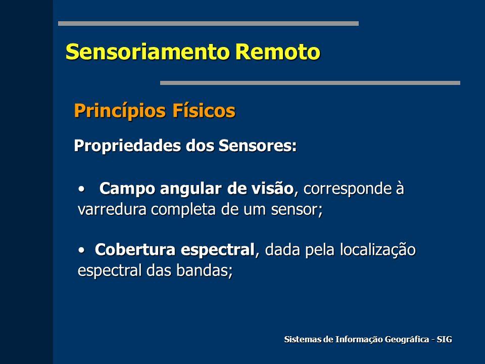 Sensoriamento Remoto Princípios Físicos Propriedades dos Sensores: