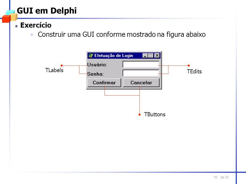 GUI em Delphi Exercício