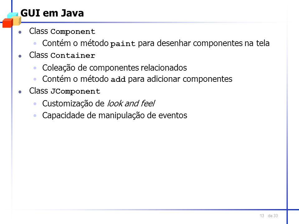 GUI em Java Class Component
